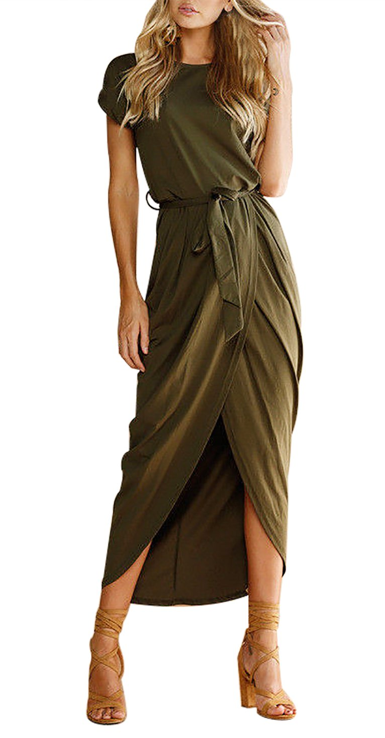 Yidarton Women Ladies Sexy Casual Short Sleeve Beach Party Slit Long Maxi Dress ArmyGreen M
