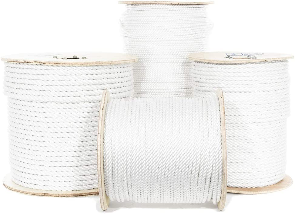 UV High Strength Golberg Twisted Polyester Rope Crafts - White Low Stretch Truck Rope 3//8 Inch, 100 Feet Rigging Winch String Line Moisture Rot Oil and Chemical Resistant