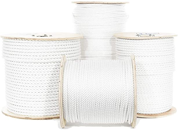 Moisture Rigging Winch Truck Rope UV Oil and Chemical Resistant White Golberg Twisted Polyester Rope 3//8 Inch, 300 Feet String Line Rot Crafts - High Strength Low Stretch