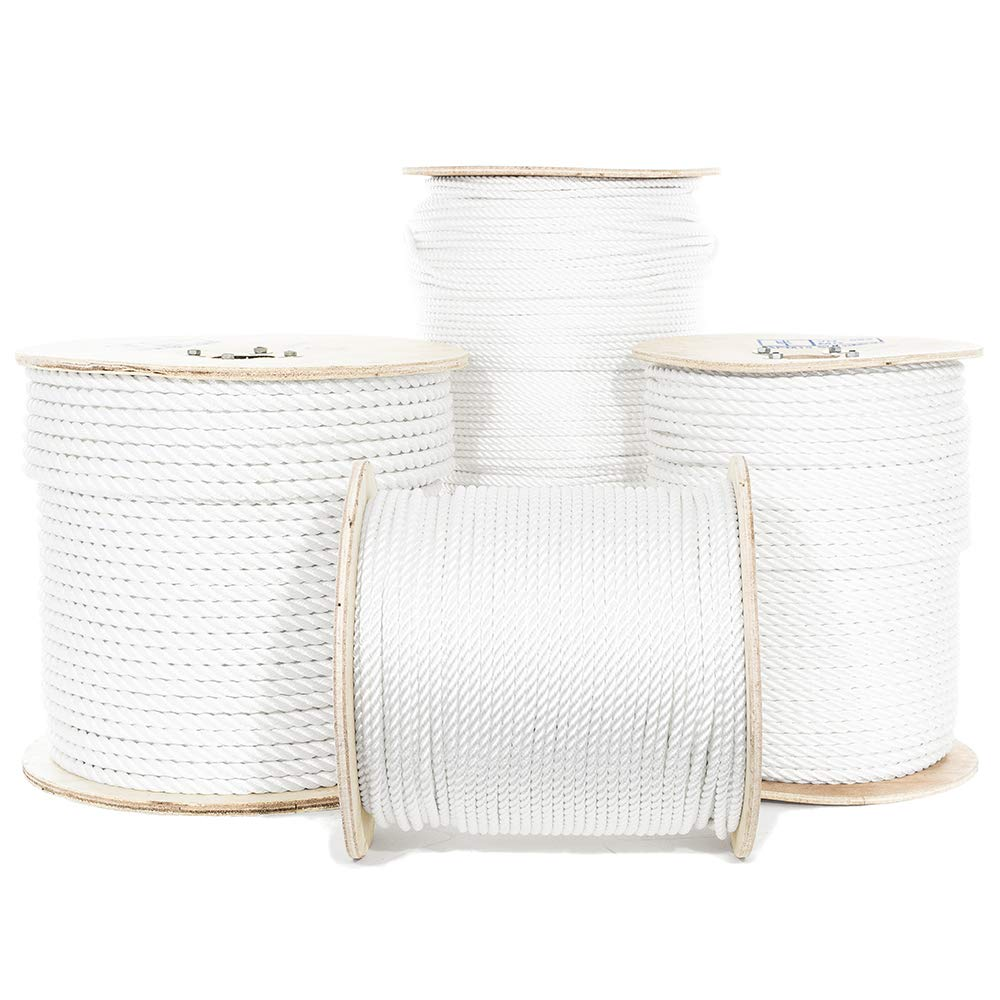 Golberg Twisted Polyester Rope - White - Low Stretch, High Strength - Moisture, UV, Rot, Oil and Chemical Resistant - Rigging, Winch, String Line, Truck Rope, Crafts - (5/16 Inch, 200 Feet)