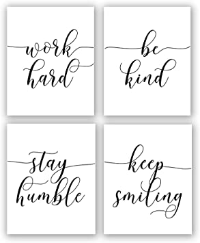 Amazon De Inspirierendes Zitat Spruch Kunst Gemalde Arbeit Hard Be Kind Stay Humble Keep