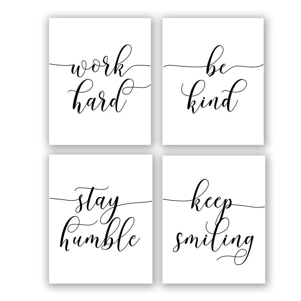 """Inspirational Quote&Saying Art Painting,Work Hard,Be Kind,Stay Humble,Keep Smiling Art Print Set of 4 (8""""X10"""" Canvas Picture,Motivational Phrases Wall Art for Office or Living Room Home Decor,No Frame"""