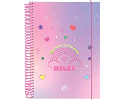 Caderno 10 Matérias, DAC, 3316, Capa Dura, Milky Rosa, Colegial, 190x240mm, 160 Folhas, Com Elástico