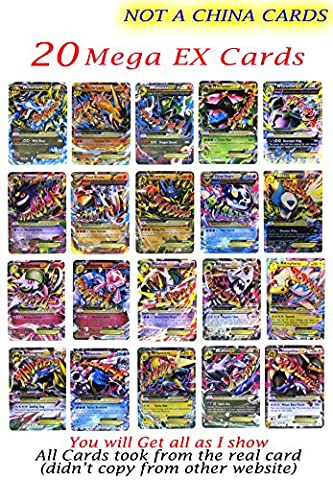 New Mega Cards EX 20 Cards no Repeat All Rare 2017 Set each Cards under 2 Dollars Free Cards Case Box and Cards Sleeve Fast (Mega Charizard Ex Japan)