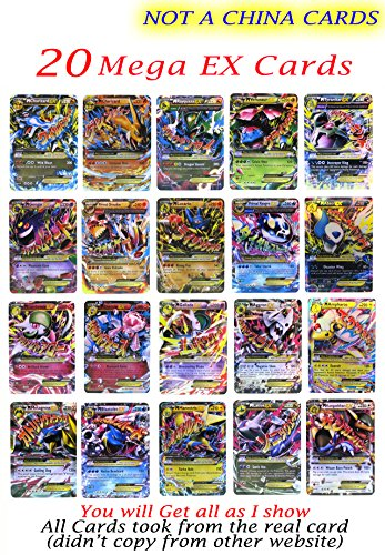 New Mega Cards EX 20 Cards no Repeat All Rare 2017 Set each Cards under 2 Dollars Free Cards Case Box and Cards Sleeve Fast (Halloween Skin Pack 2017)