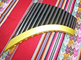 Professional Pan Flaute 15 Pipes From Peru Gold and Black Painted Bamboo Item in USA Case Included