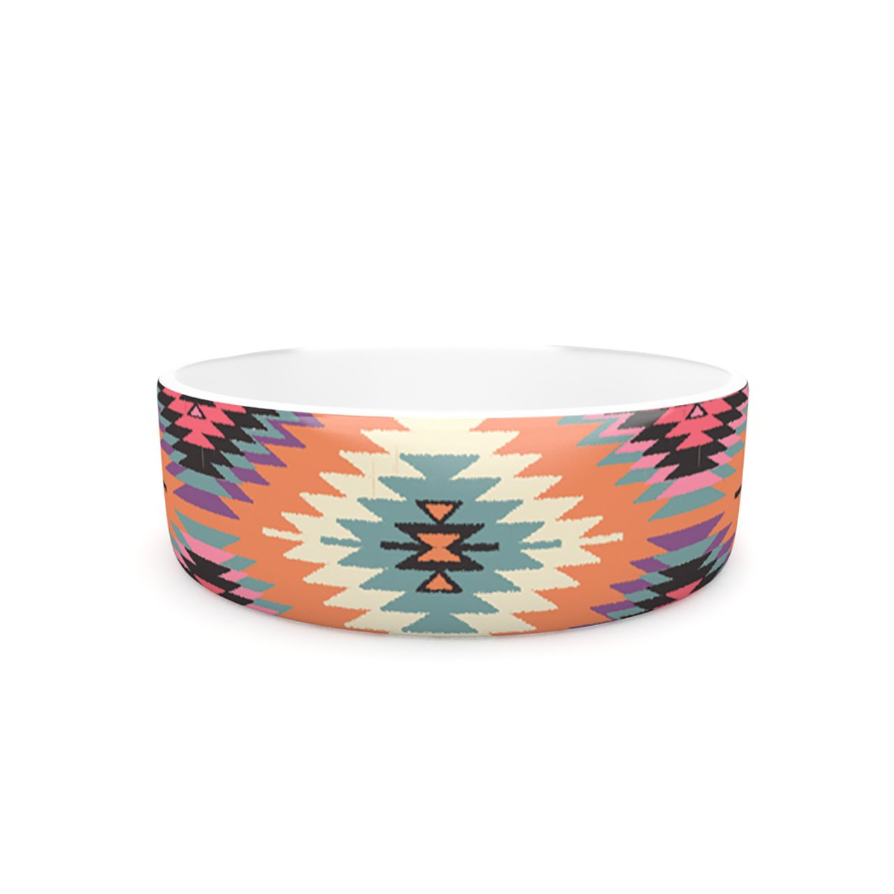 Kess InHouse Amanda Lane Navajo Dreams  Pet Bowl, 7-Inch, orange Pink