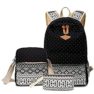 Cute Polka Dot Canvas School Laptop Backpack Lunch Bag Pen Box for Teenage Girls Black