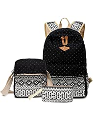 Leaper Cute Polka Dot Style Canvas Laptop Bag/ Casual backpacks+Shoulder Bag/School Backpack+Pencil Case(3PCS)...