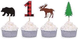 Woodland First Birthday Cupcake Toppers Lumberjack Buffalo Plaid Baby Bear Wild One Decorations