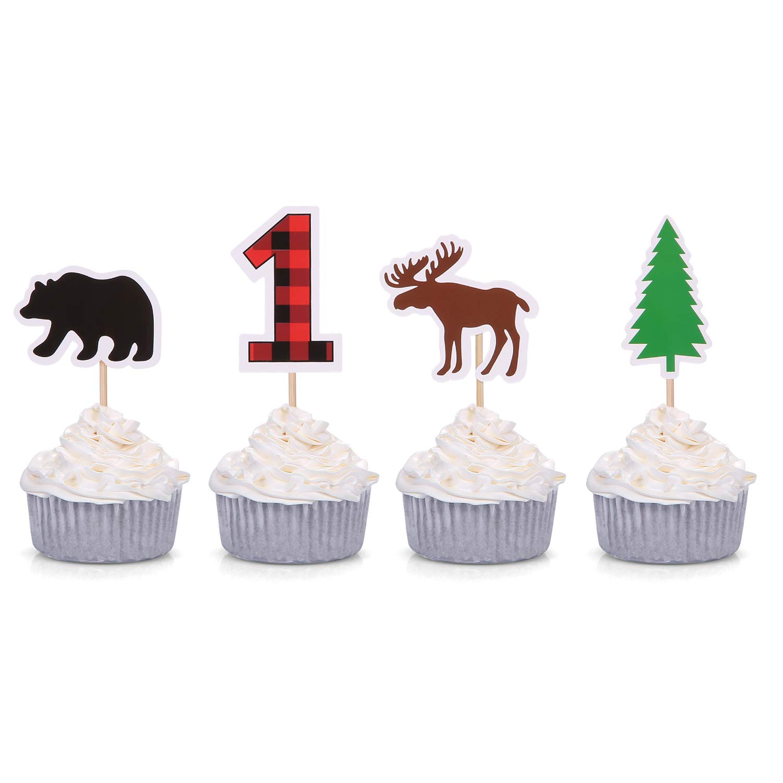 Woodland First Birthday Cupcake Toppers Lumberjack Buffalo Plaid Baby Bear Wild One Decorations Giuffi