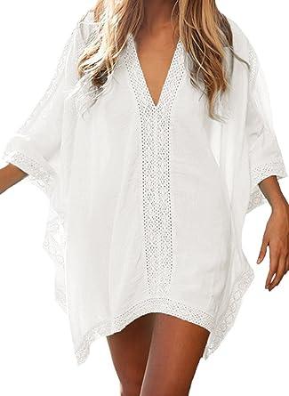 748ab8390e6 Minetom Vestido De Playa Encaje V-Cuello Traje Ropa De Baño para Mujeres  Camiseta Manga