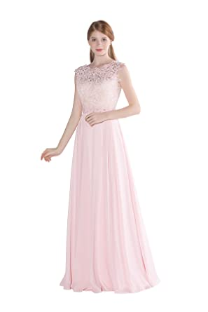Vintage Lace Bodice Sleeveless Long Rustic Chiffon Bridesmaid Dress ...