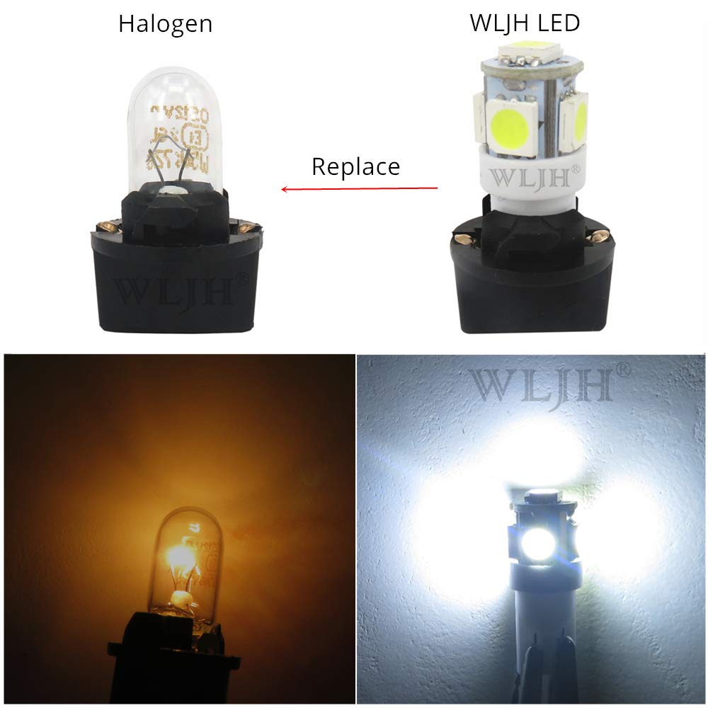 WLJH 6Pack White T10 194 LED Light Bulb 168 Instrument Panel Gauge Cluster Dashboard Lights T10 LED Bulbs with Twist Lock Socket PC194 PC195 PC168