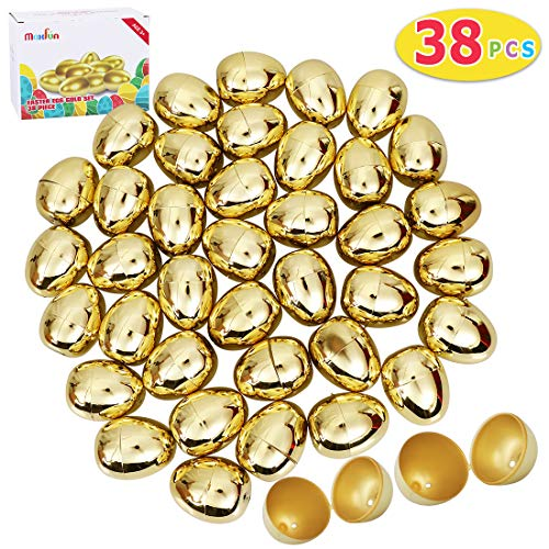 Max Fun 38 Pcs Golden Metallic Easter Eggs for Easter Theme Party Favor, Easter Hunt, Basket Stuffers Fillers, School Classroom Supply