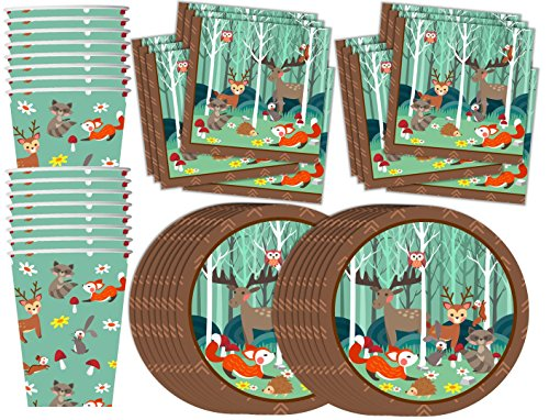 woodland-animals-birthday-party-supplies-set-plates-napkins-cups-tableware-kit-for-16
