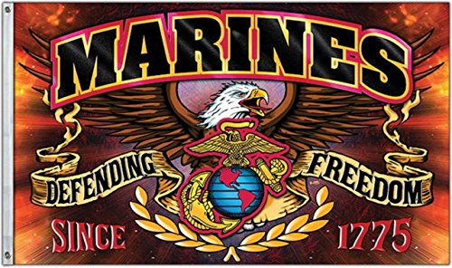 United States Marine Corps Defending Freedom 3 x 5 Foot Flag by Flags Inc
