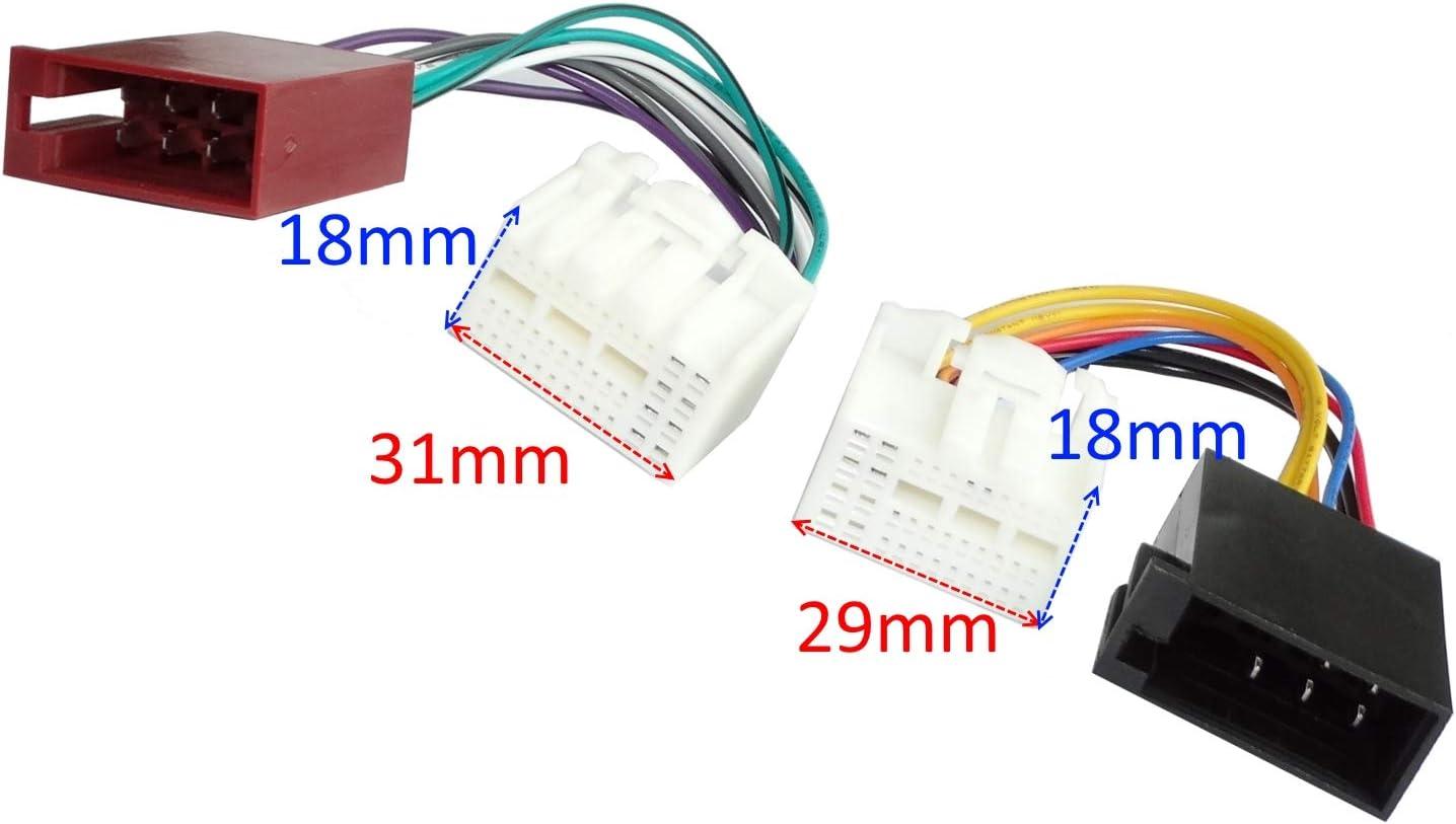 Adaptateur Faisceau c/âble fiche ISO pour autoradio dorigine pour Auto Voiture C41257 AERZETIX