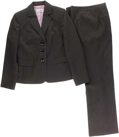 Le Suit Womens 1 Button Peak Lapel Herringbone Pant Suit