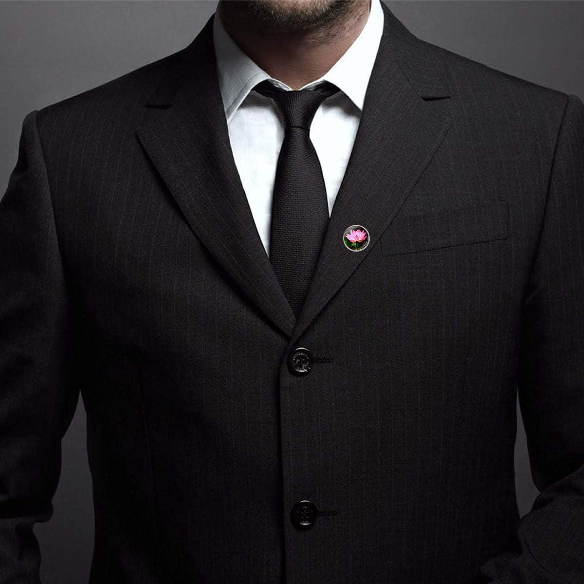 WAZZIT Round Metal Tie Tack Hat Lapel Pin Brooches Pink Lotus Art Banquet Badge Enamel Pins Trendy Accessory Jacket T-Shirt