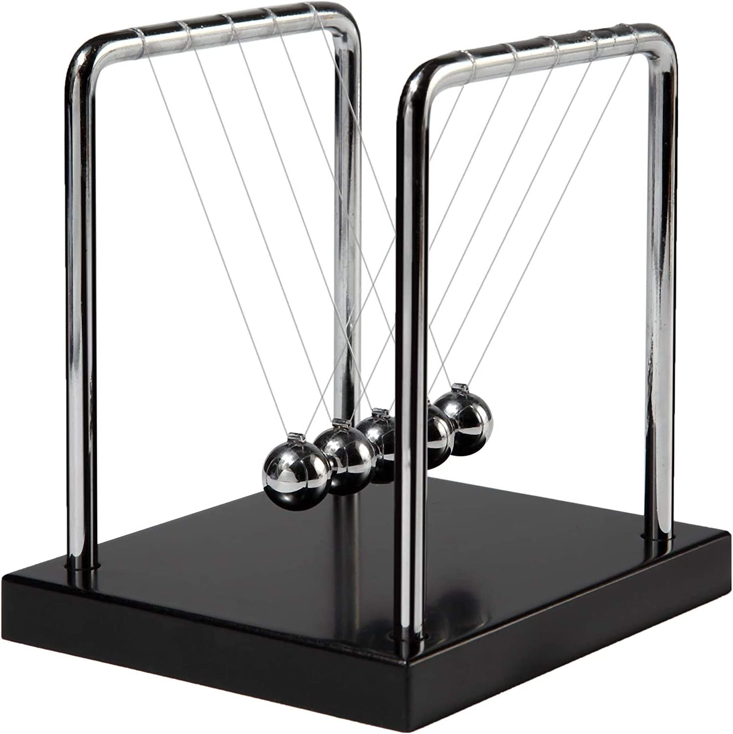 Newtons Cradle Balance Balls with Black Wooden Base Fun Science Physics Learning Desk Toys Fun Gadget 5 Pendulum Balls for Office and Home Decoration-Black