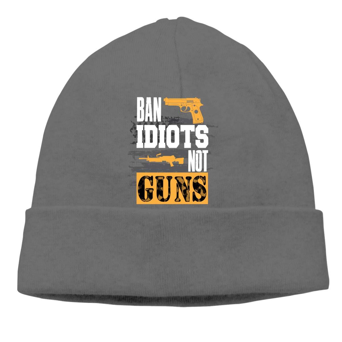Ban Idiots Not Guns Beanie Knit Hats Skull Cap Mens Deep Heather