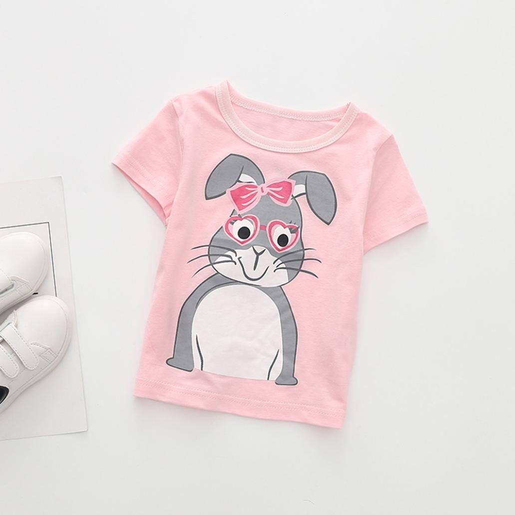 Fineser Summer Toddler Infant Baby Girls Boys Cartoon Print Short Sleeve T-Shirt Tops Outfits Clothes