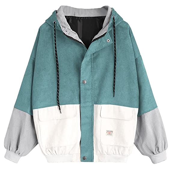 BBring Damen Mode Winter Corduroy Patchwork Oversize Langarm Jacke Windbreaker Mantel mit Kapuze