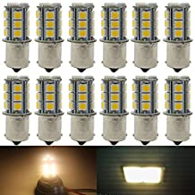 12-Pack 1156 BA15S 1156NA 7506 1141 1003 1073 Warm White 3000k LED Light 12V-DC, AMAZENAR 5050 18 SMD Car Replacement For Interior RV Camper Turn Signal Light Lamps Tail BackUp Bulbs