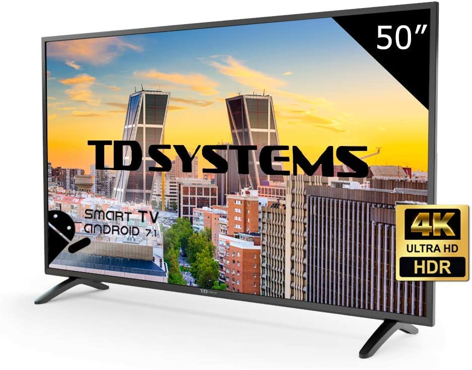 TD Systems K50DLM8US - Televisor Led 50 Pulgadas Ultra HD 4K Smart, resolución 3840 x 2160, HDR10, 3X HDMI, VGA, 2X USB, Smart TV.: Amazon.es: Electrónica