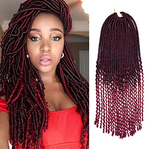 3Packs 18'' Faux Locs Crochet Hair Braids with Curly Ends Ombre Wavy Synthetic Hair Extensions Dreadlocks Kanekalon Braiding Hair Goddess Locs Crochet Twist 24Roots (T1B/BUG) (Wave Spanish)