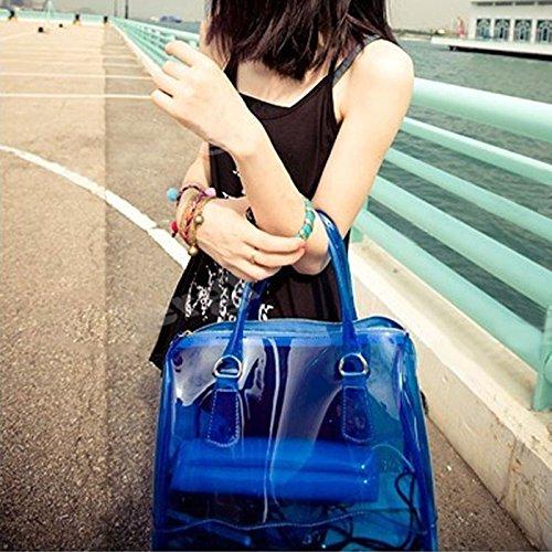 Bnasa Del Azul Pvc Cubo Transparente 1 Dulce 2 Bolso De Jalea En Bolsa Color Mujer Transparente Bolso De Hombro rq8UwrpC