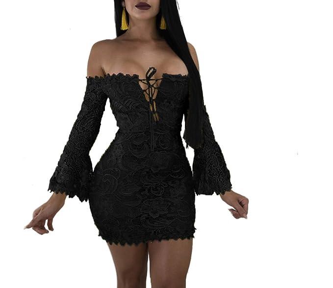 Oe Letg Women Mini Club Bodycon Dress Party Sexy Lace Off The Shoulder Dresses