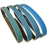 3/8 Inch x 13 Inch Zirconia Sanding Belts, 4 Each of 40/60/80/120 Assorted Grits, Belt Sander Tool for Woodworking…