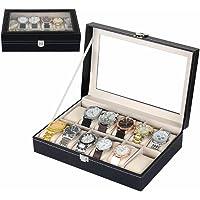 Zogin Coffret/Présentoir/Boîte/Boîtier à Montre Bijoux Coffret de Rangement pour Montres avec Serrure Imitation Cuir Noir