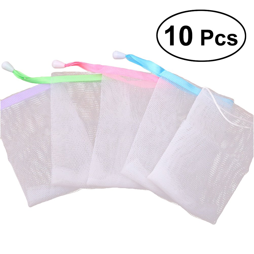 Lurrose 10 STÜCKE Mesh Soap Saver Beutel, Peeling Kordelzug Halter Taschen Blase Schaum Net Handgemachte Seife Mesh Tasche für Körper Gesichtsreinigung (Zufällige Farbe)