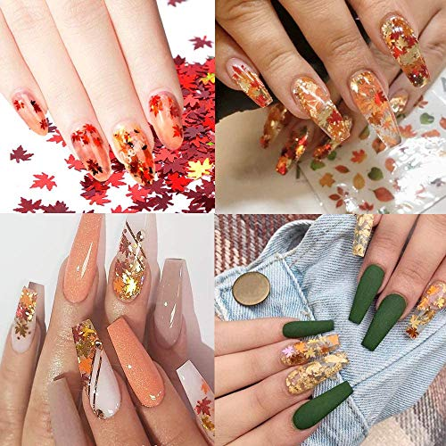 24 Boxes Fall Nail Art Stickers Nail Art Sequins Nails Decorations Supply Manicure Tips Accessories Autumn Gradient Maple Leaf Thin Nail Sequins for Decoration Festival