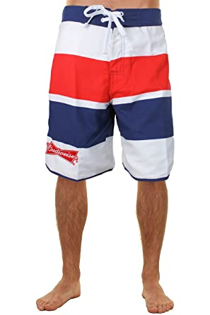 2d0358adb6 Amazon.com: Budweiser Red, White and Blue Striped Mens Boardshorts ...