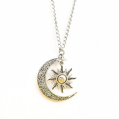 Amazoncom Vintage Silver Filigree Large Pendant Long Moon And Sun