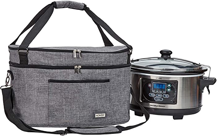 HOMEST Dust Carry Bag with Pockets for Himilton Slow Cooker 6-10 Quart, Water Resistant Travel Tote Bag, Grey