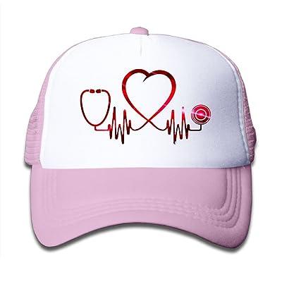 SDRG5 Nurse Heartbeat Child Baby Kid Mesh Caps Adjustable Trucker Hats Summer Baseball Caps