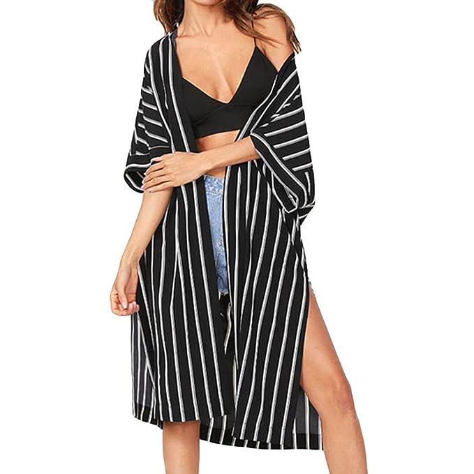 Amazon.com: RNTop Mujeres Rayas Kimono Cardigan, Mujer Moda ...