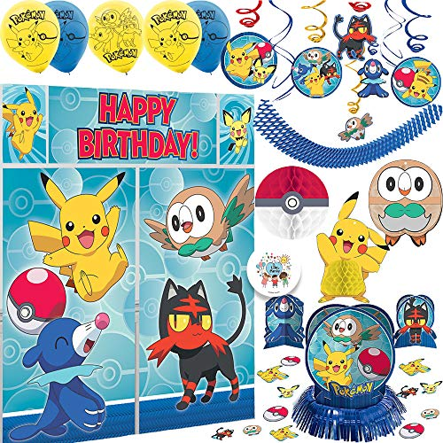 Deluxe Pokemon Birthday Party Decorations Pack With Swirl Decorations, Scene Setter Wall Decorating Kit, Table Decorations with Confetti, 6 Balloons, Hanging Honeycomb Decoration and Exclusive Pin]()