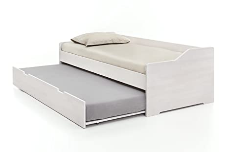 Massivholz Gastebett Aus Kernbuche Weiss Ausziehbares Doppel Bett Als Jugend Kinderbett Verwendbar Funktionsbett Aus Holz Bett 90 X 200 Cm