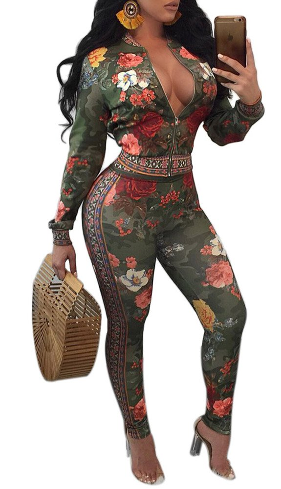 Two Piece Outfit For Women Jacket and Pants Set Floral Long Sleeve Sport Bodycon Jumpsuit Tracksuits Green L