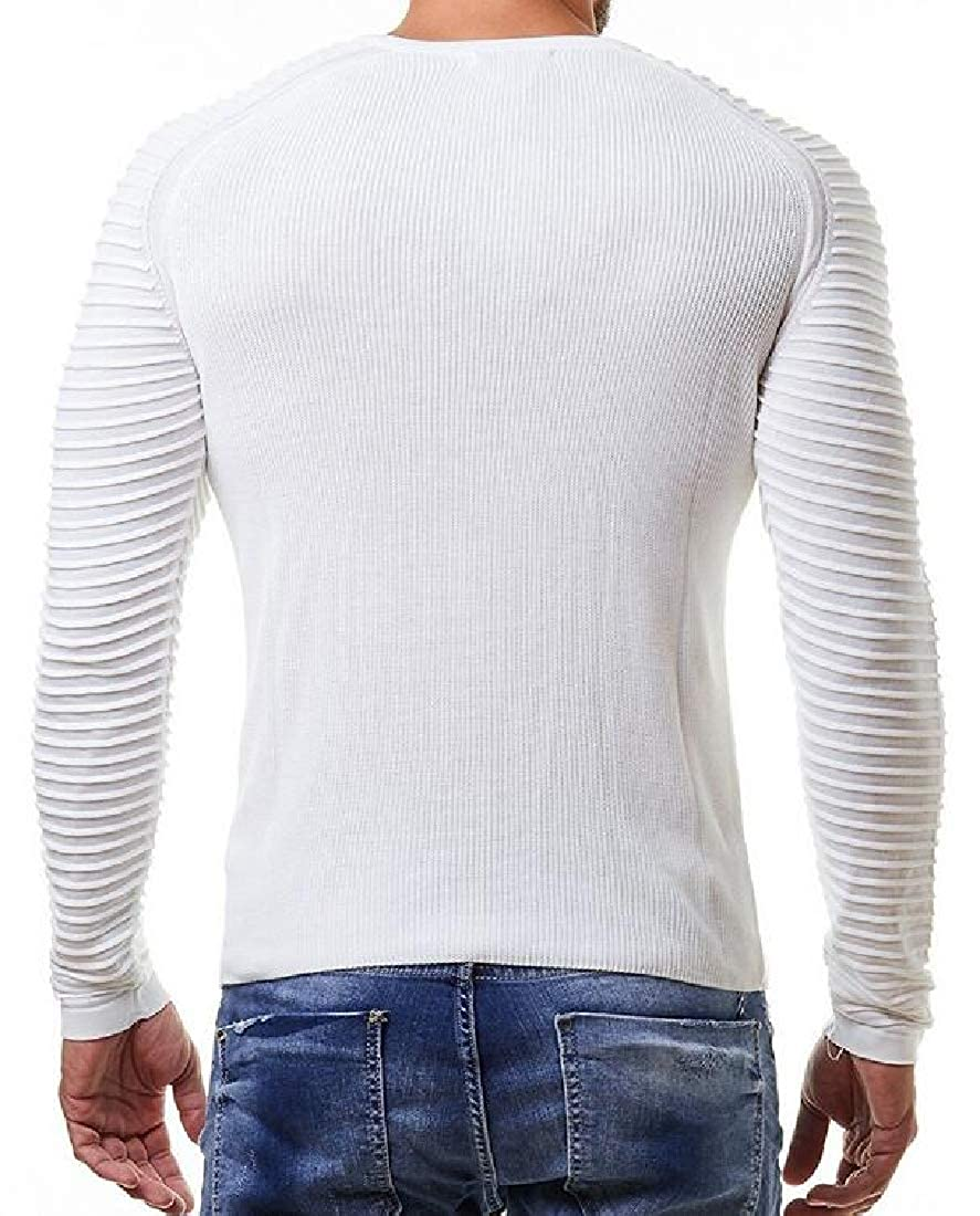 WSPLYSPJY Mens Light Weight Ribbed Knitted Pullover Crew Neck Sweaters
