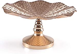 MDLUU Centerpiece Bowl, Centerpiece Holder Tray, Pedestal Decorative Bowl for Dining Room Table, Coffee Table, Living Room Decor, 13.3''Dia.×6.8''H (Gold)