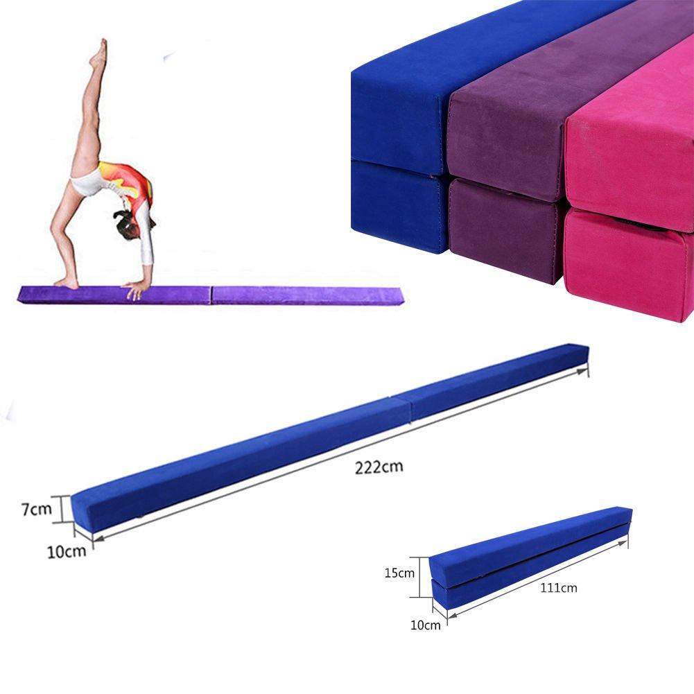 220 cm/7.2 pies Equilibrio Beam de Entrenamiento de Gimnasia,Balance Beam de Gamuza Sintética Plegable, Ejercicio de Entrenamiento Deportes en Casa o Gimnasia (Azul) Cusco