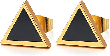 Mens Womens Gold Color Steel Blue Faceted Cubic Zirconia Triangle Stud Earrings