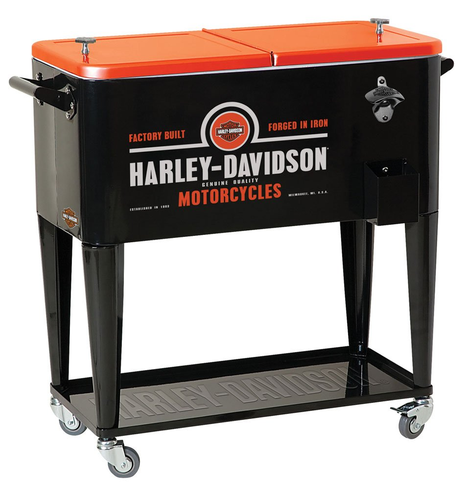 HARLEY-DAVIDSON Forged in Iron Sturdy Rolling Cooler, Black Orange HDL-10071